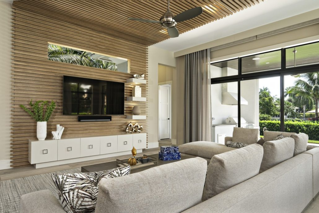 interior design boca raton living room space with wood accent wall